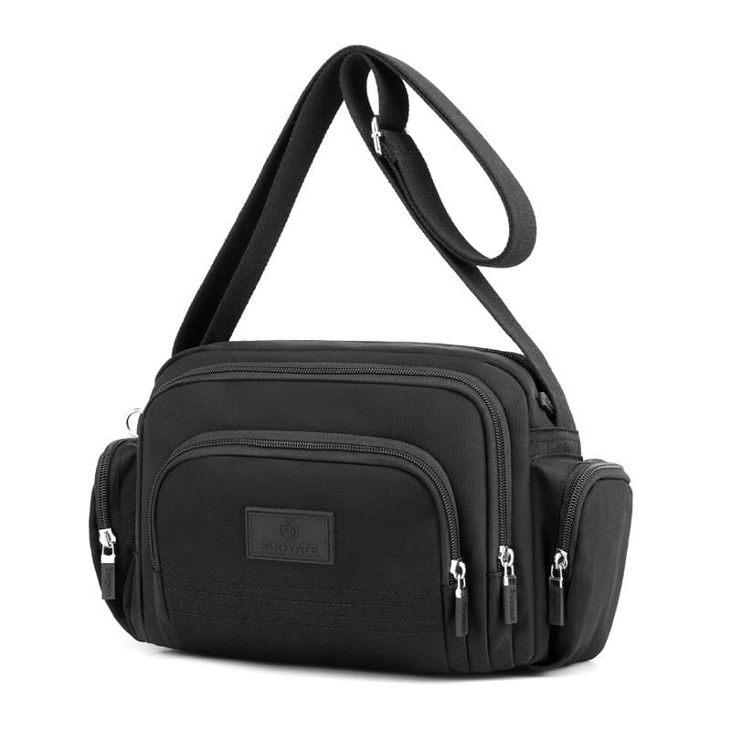 Obangbag Black Women Simple Multi Pockets Multifunction Lightweight Waterproof Nylon Shoulder Bag Crossbody Bag