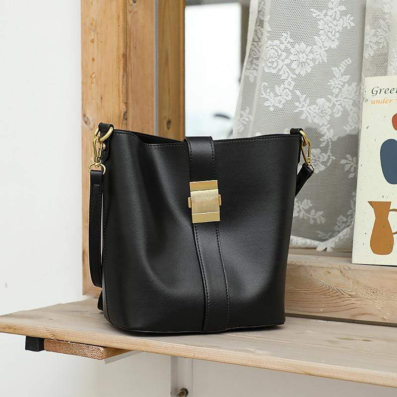Obangbag Black Women Simple Vintage Roomy Leather Bucket Bag Bag Set Shoulder Bag for Work