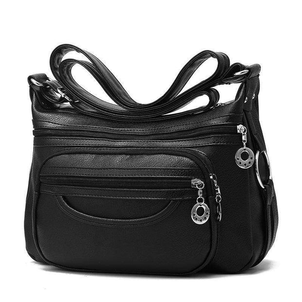 Obangbag Black Women Soft Leather Large Capacity Multifunction Crossbody Bag Shoulder Bag