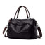 Obangbag Black Women Soft Leather Multi Purpose Roomy Large Capacity Handbag