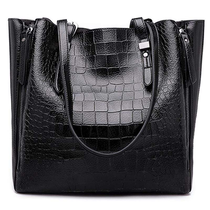 Obangbag Black Women Stylish Fashion Large Capacity Crocodile Pattern Oil Wax Leather Tote Bag Handbag