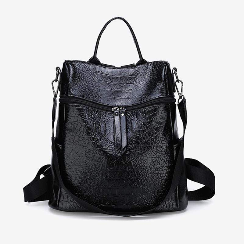 Obangbag Black Women Vintage Chic Double Zipper Roomy Multifunction Crocodile Pattern Leather Backpack Shoulder Bag