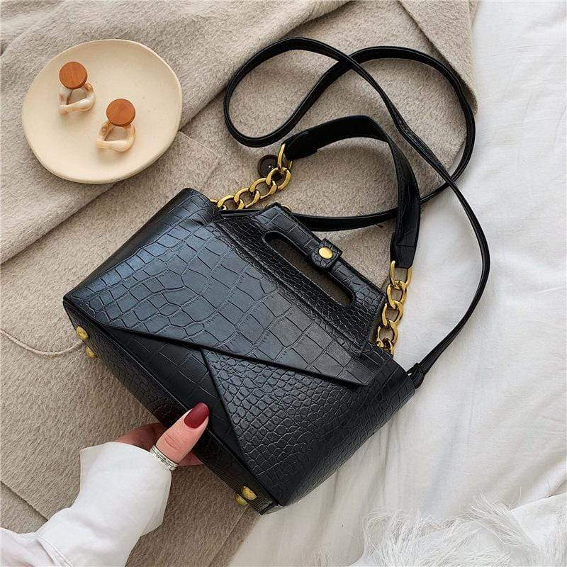 Obangbag Black Women Vintage Chic Fashion Roomy Multifunction Crocodile Pattern Leather Crossbody Bag Handbag Bag Set
