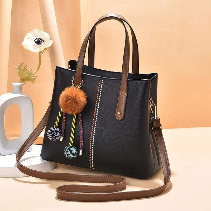 Obangbag Black Women Vintage Chic Large Capacity Professional Leather Handbag Shoulder Bag Crossbody Bag