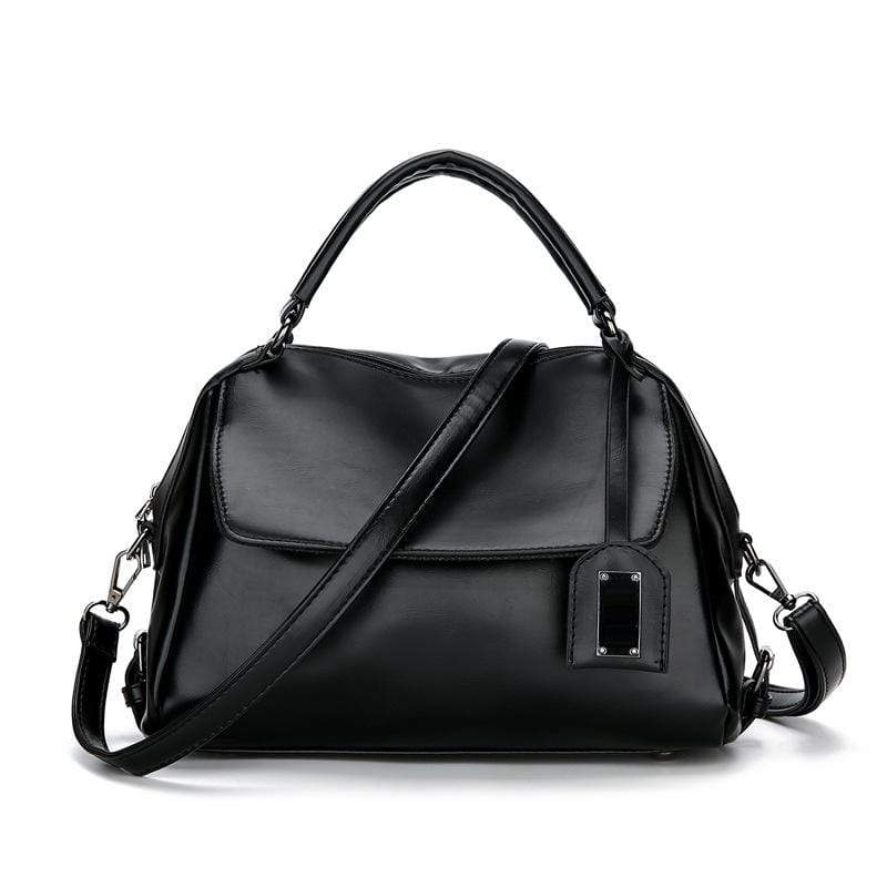 Obangbag Black Women Vintage Chic Multi Pockets Multifunction Roomy Oil Wax Leather Boston Bag Handbag Crossbody Bag