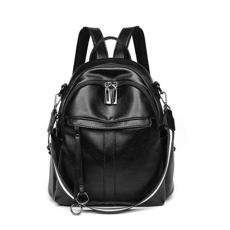 Obangbag Black Women Vintage Chic Multifunction Anti-theft Oil Wax Leather Backpack Shoulder Bag for Travel