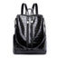 Obangbag Black Women Vintage Chic Multifunction Multi Pockets Roomy Leather Crocodile Pattern Backpack Shoulder Bag
