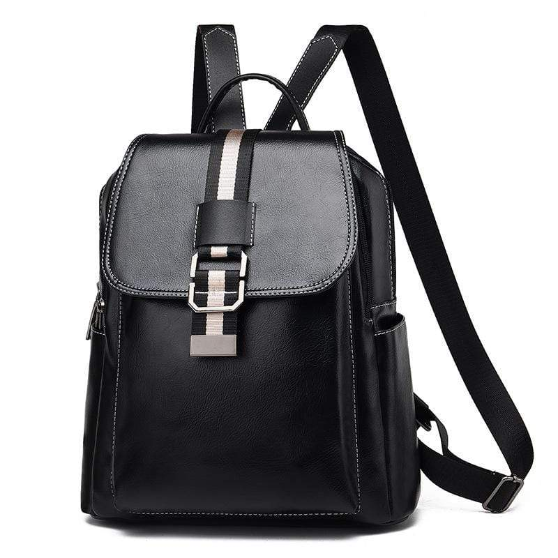 Obangbag Black Women Vintage Chic Roomy Multifunction Casual Soft Leather Backpack Bookbag
