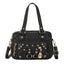 Obangbag Black Women Vintage Cute Chic Roomy Lightweight Soft Leather Handbag Crossbody Bag