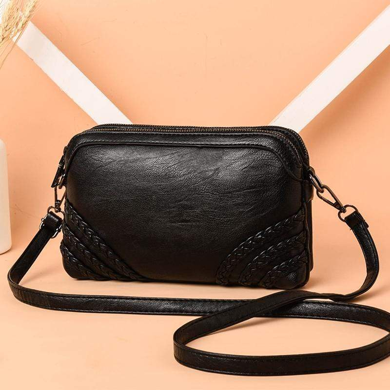 Obangbag Black Women Vintage Cute Mini Roomy Professional Soft Leather Crossbody Bag Shoulder Bag