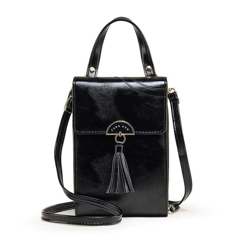 Obangbag Black Women Vintage Cute Multi Layers Roomy Portable Leather Phone Bag Wallet Crossbody Bag