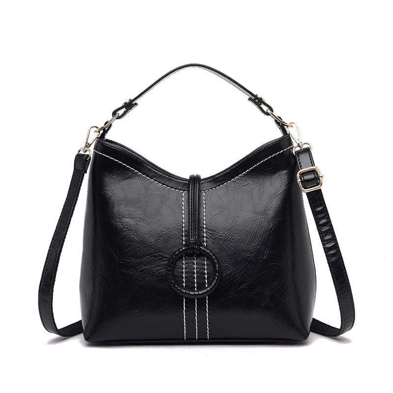 Obangbag Black Women Vintage Elegant Large Capacity Lightweight Oil Wax Leather Bucket Bag Handbag Crossbody Bag