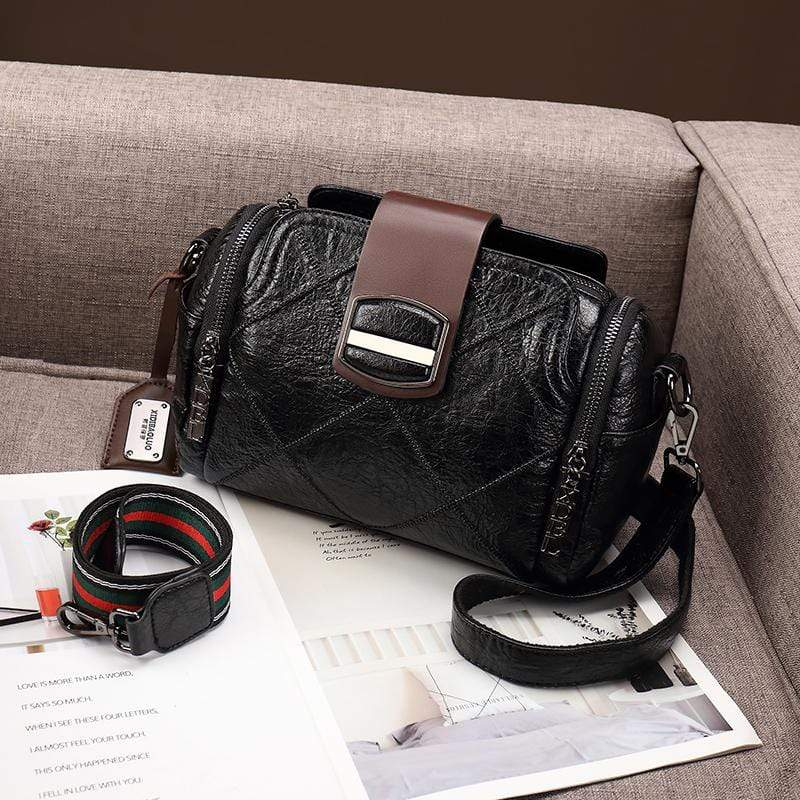 Obangbag Black Women Vintage Elegant Large Capacity Multi Pockets Multifunction Oil Wax Leather Handbag Shoulder Bag Crossbody Bag