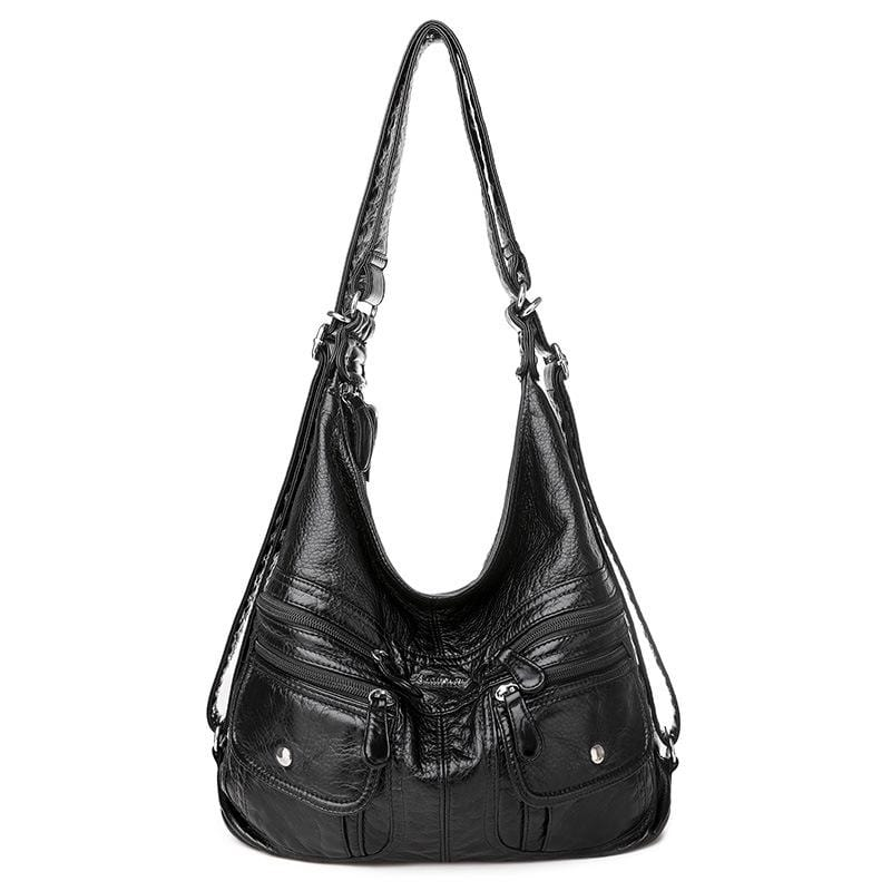 Obangbag Black Women Vintage Elegant Multifunction Large Capacity Professional Leather Backpack Shoulder Bag Crossbody Bag