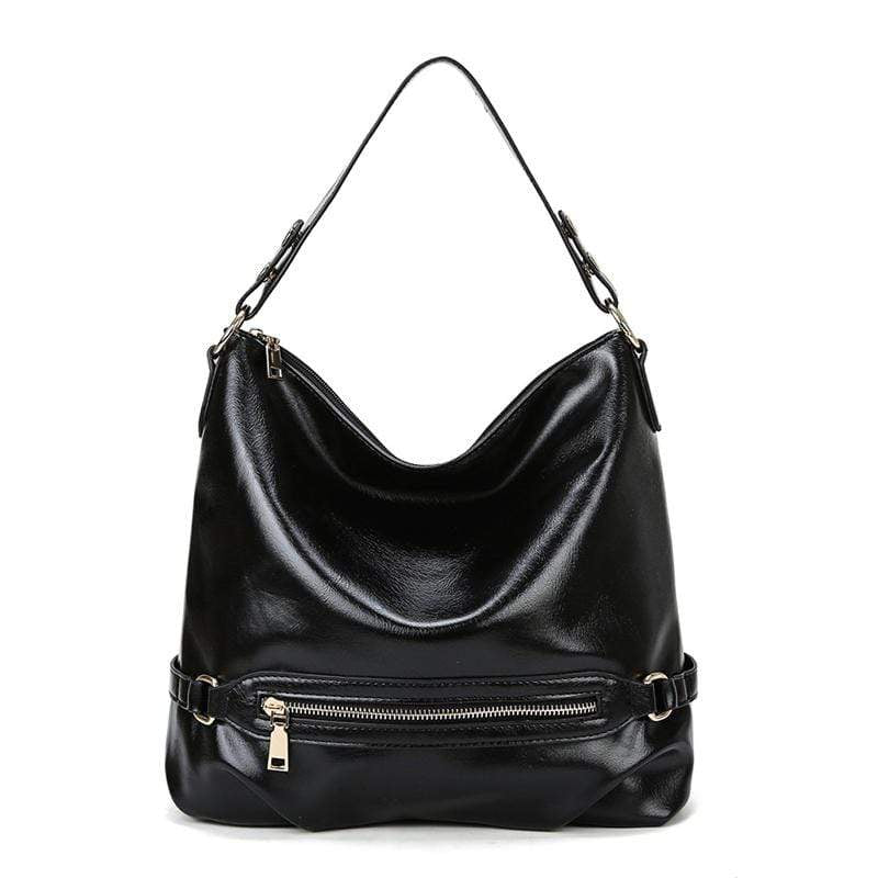 Obangbag Black Women Vintage Fashion Large Capacity Roomy Anti-theft Leather Tote Bag Crossbody Bag for Work