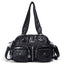 Obangbag Black Women Vintage Fashion Professional Multi Pockets Roomy Soft Leather Shoulder Bag Crossbody Bag