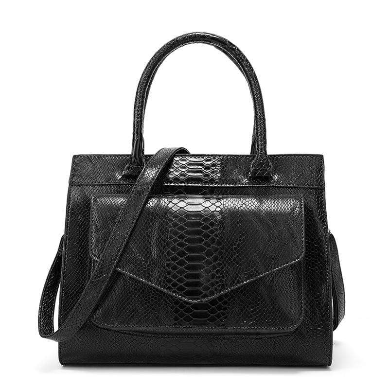 Obangbag Black Women Vintage Large Capacity Multi Pockets Snake Skin Pattern Leather Boston Bag Handbag Crossbody Bag