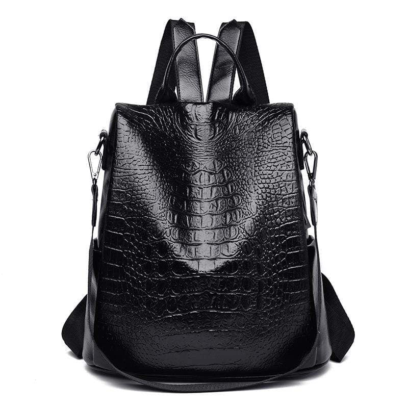 Obangbag Black Women Vintage Large Capacity Multifunction Anti-theft Crocodile Pattern Leather Backpack Shoulder Bag