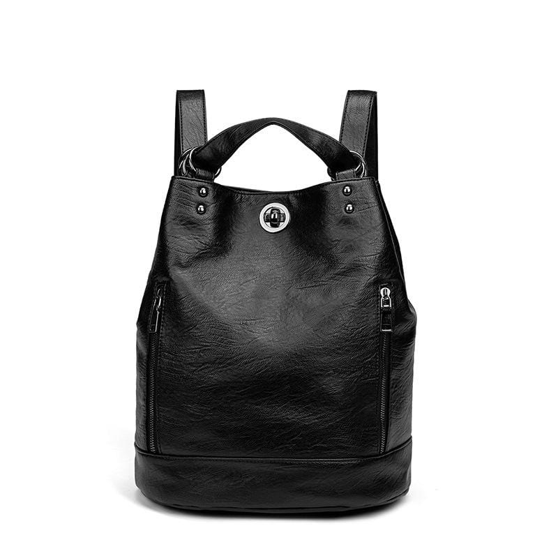 Obangbag Black Women Vintage Large Capacity Multifunction Multi Pockets Leather Bucket Bag Backpack Shoulder Bag for Work for Travel