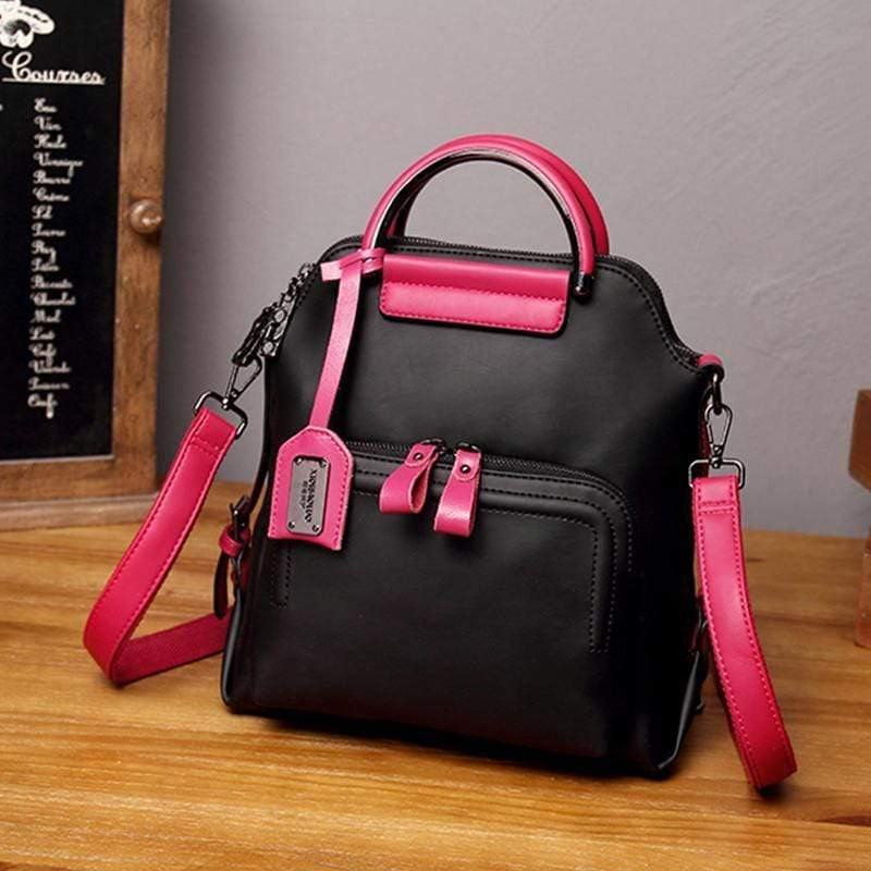 Obangbag Black Women Vintage Multi Pockets Colorful Leather Backpack Shoulder Bag