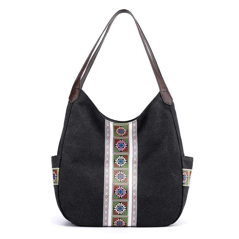 Obangbag Black Women Vintage Multi Pockets Multi Layers Printed Roomy Canvas Tote Bag Handbag