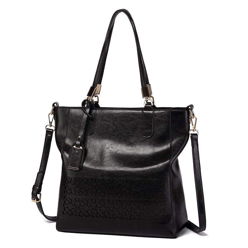 Obangbag Black Women Vintage Multifunction Large Capacity Floral Oil Wax Leather Tote Bag Crossbody Bag Handbag