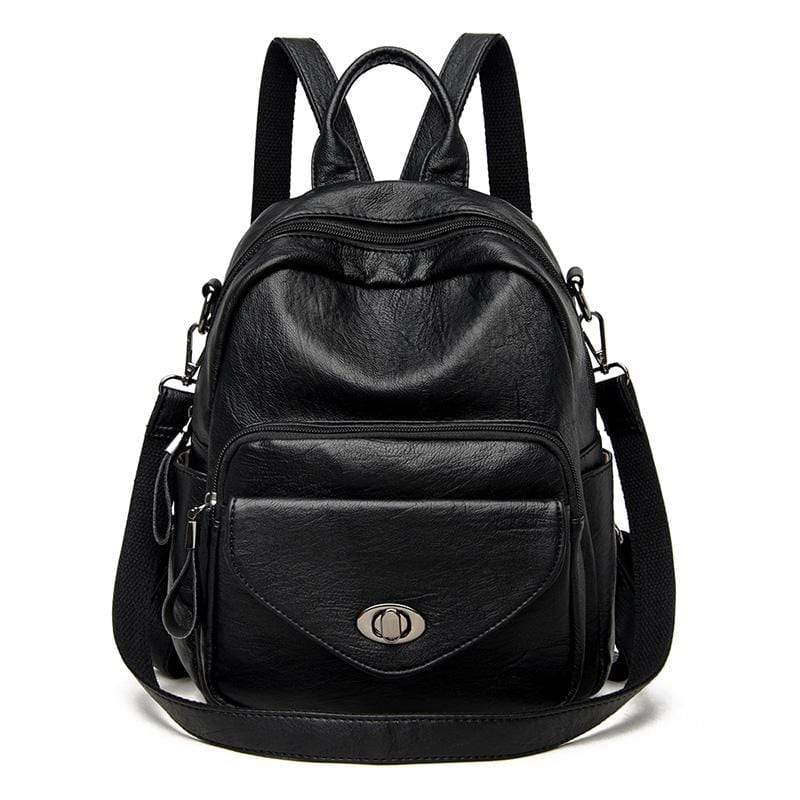 Obangbag Black Women Vintage Multifunction Roomy PU Leather Backpack Shoulder Bag Bookbag