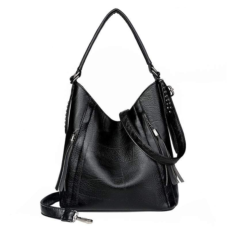 Obangbag Black Women Vintage Retro Big Large Capacity Professional Leather Handbag Crossbody Bag for Work
