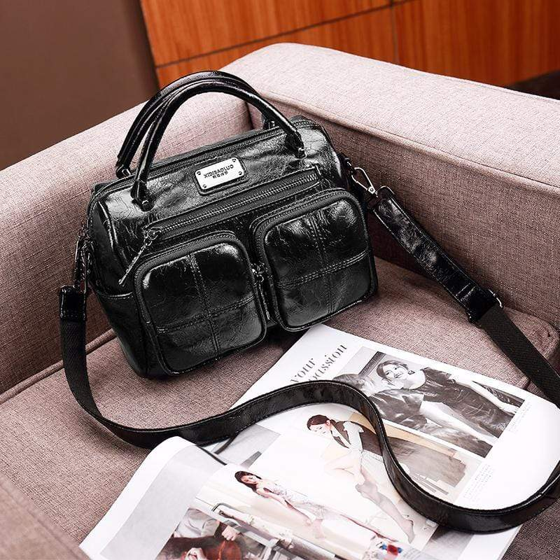 Obangbag Black Women Vintage Retro Leather Large Capacity Multi Pocket Messenger Bag Handbag Shoulder Bag