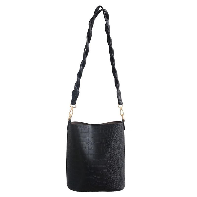 Obangbag Black Women Vintage Roomy Lightweight Woven Daily Crocodile Pattern Leather Bucket Bag Bag Set Crossbody Bag