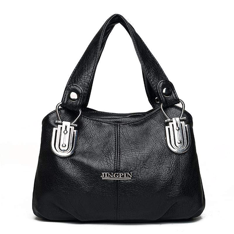 Obangbag Black Women Vintage Roomy Multi Pockets Professional Soft Leather Handbag Crossbody Bag