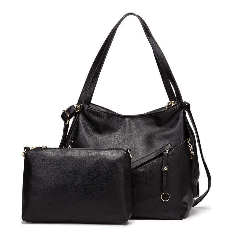 Obangbag Black Women Vintage Simple Multi Pockets Anti-theft Soft Leather Bag Set Shoulder Bag Crossbody Bag