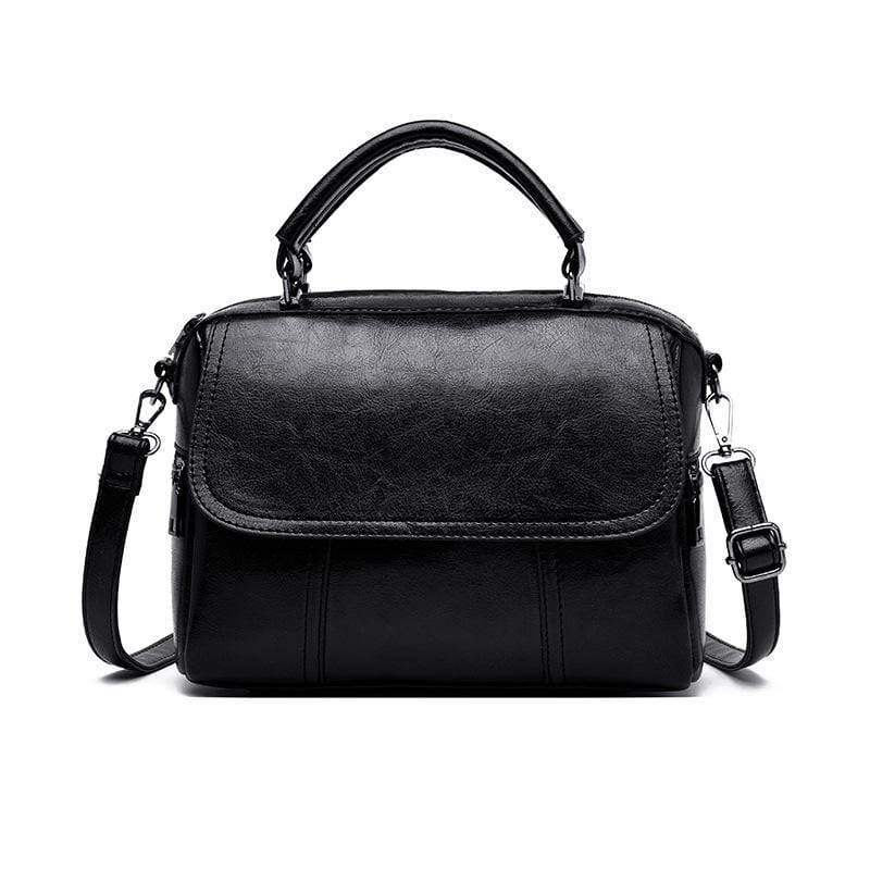 Obangbag Black Women Vintage Simple Multi Pockets Large Capacity Leather Handbag Crossbody Bag for Work