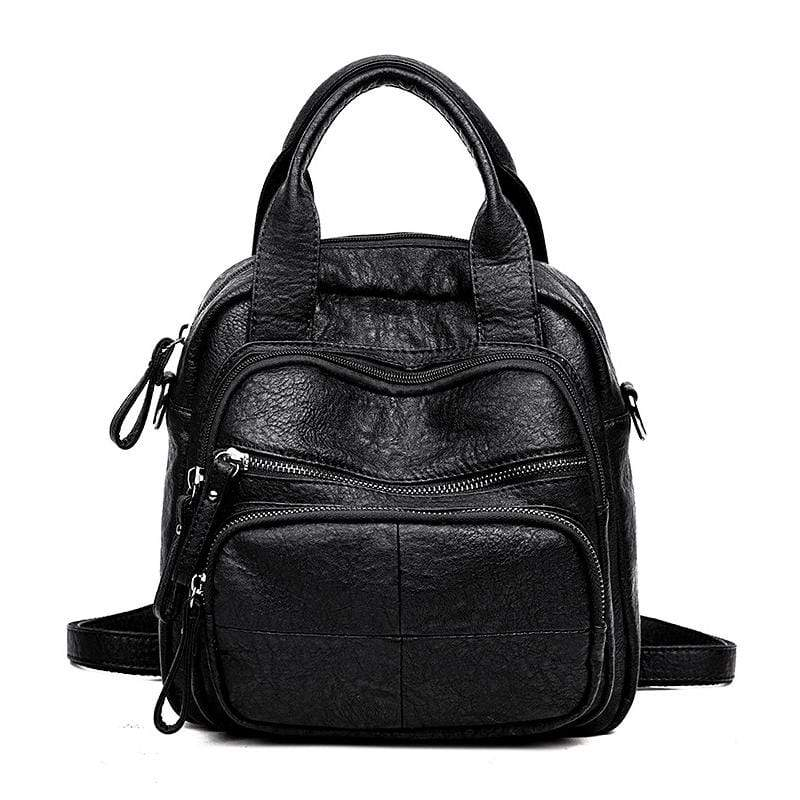 Obangbag Black Women Vintage Simple Multifunction Roomy Lightweight Soft Leather Backpack Shoulder Bag Handbag