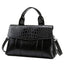 Obangbag Black Women Vintage Simple Professional Roomy Multifunction Leather Handbag Crossbody Bag Briefcase