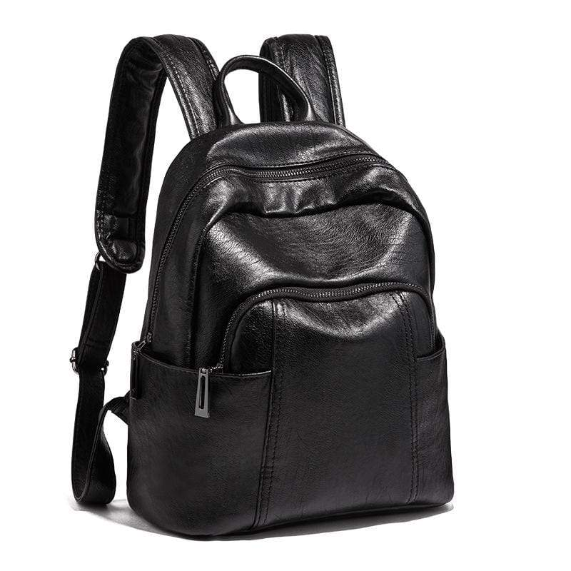 Obangbag Black Women Vintage Stylish Large Capacity Lightweight Oil Wax Leather Backpack Bookbag