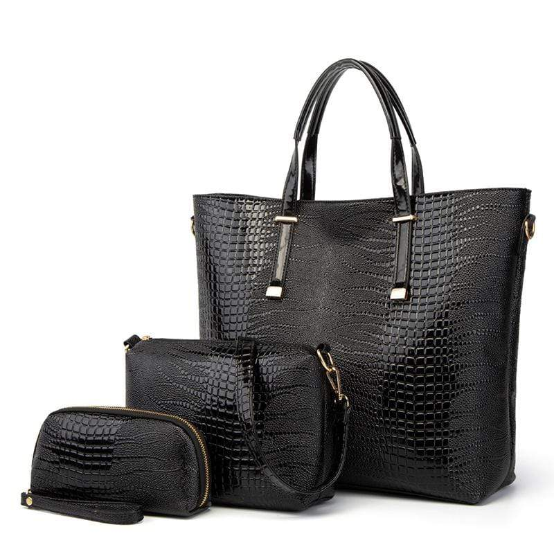 Obangbag Black Women Vintage Stylish Large Capacity Multifuction Crocodile Pattern Leather Bag Set Crossbody Bag Purse