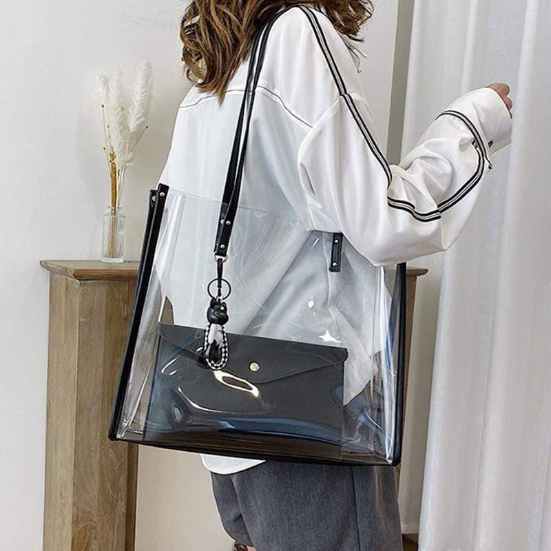 Obangbag Black Women Vintage Summer Street Clear Transparent Plastic Tote Bag Shoulder Bag Handbag Beach Bag