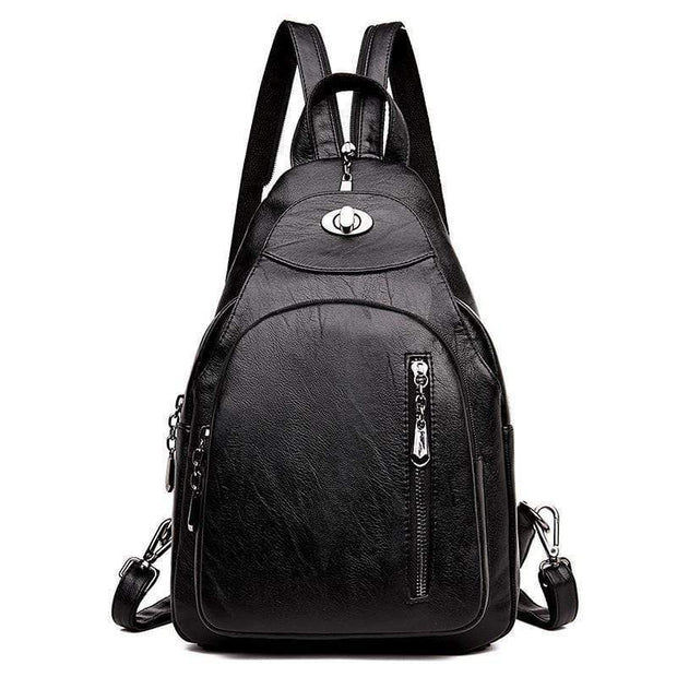 obangbag Black0 Women Wild Casual Backpack Multifunctional Leather Backpack