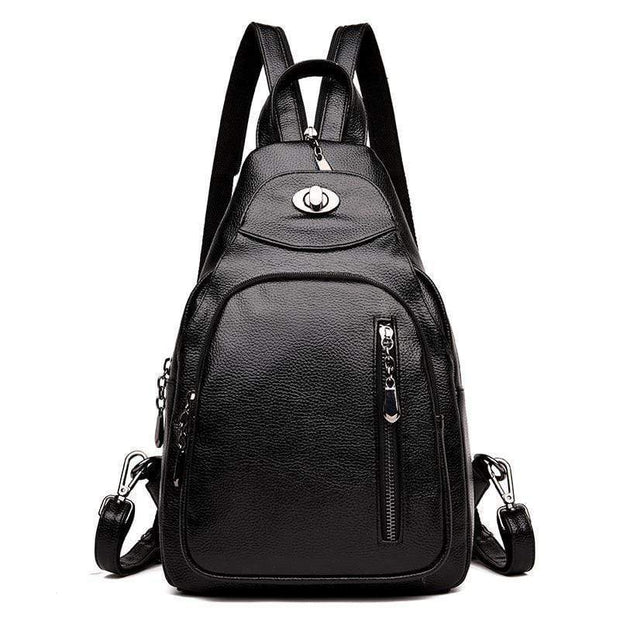 obangbag Black1 Women Wild Casual Backpack Multifunctional Leather Backpack
