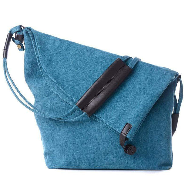 Obangbag Blue Canvas & Leather Large Capacity Lightweight Crossbody Bag