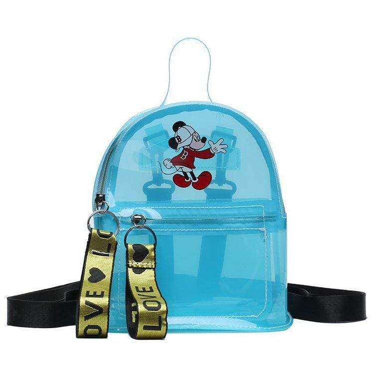 Obangbag Blue Cartoon Printed Unisex Chic Casual Cute Summer Clear Transparent Plastic Backpack for Children