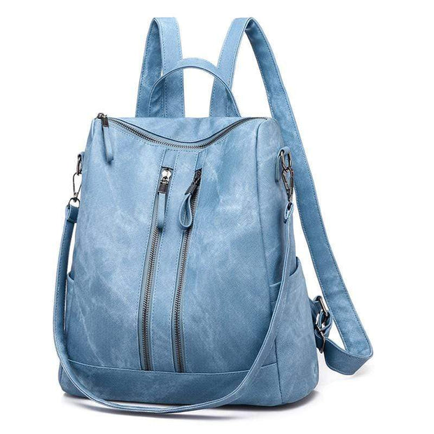Obangbag Blue Casual Retro Laptop Leather Work Backpack Shoulder Bag
