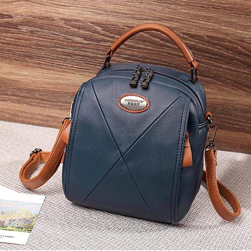 Obangbag Blue Colorful Stylish Pockets Small Leather Professional Backpack Crossbody Bag