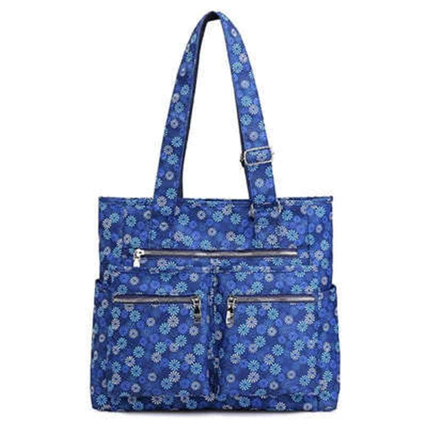 Obangbag Blue daisy Waterproof Women's Large Capacity Canvas Travel Shoulder Bag Tote Bag