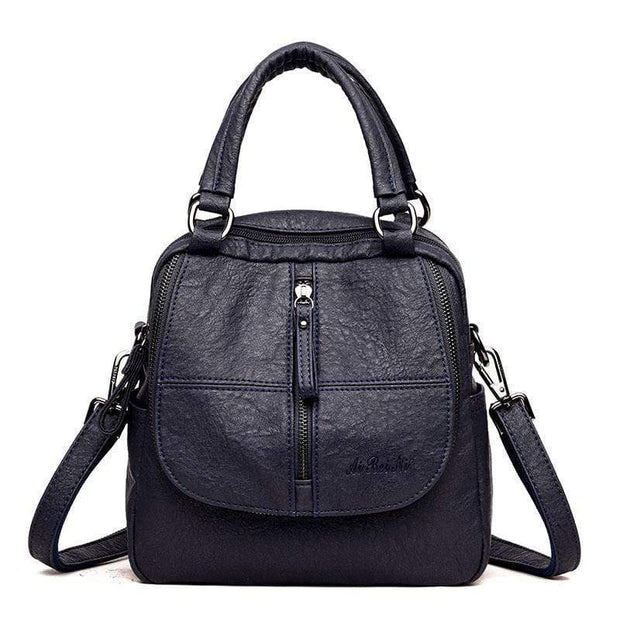 Obangbag Blue Double Layer Side Pockets Leather Backpack For Women