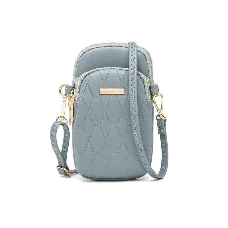 Obangbag Blue Ladies Fashion Mini Leather Crossbody Bag Phone Bag