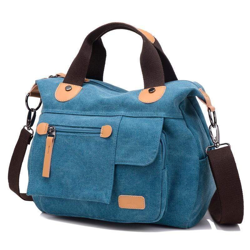 Obangbag Blue Large Capacity Shoulder Bag Travel Bag Canvas Bag