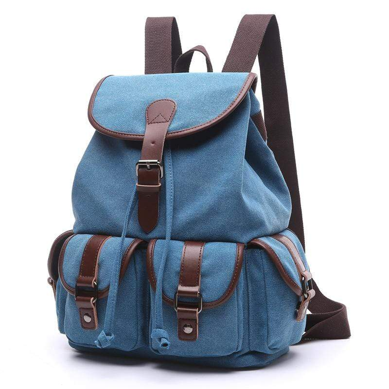 Obangbag Blue / Large Women Chic Multi Pockets Large Capacity Canvas Backpack for School for Traval