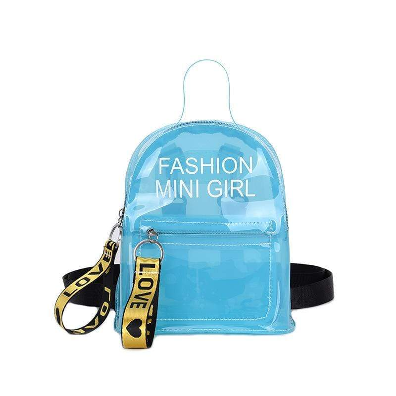 Obangbag Blue Letter Printed Unisex Chic Casual Cute Summer Clear Transparent Plastic Backpack for Children